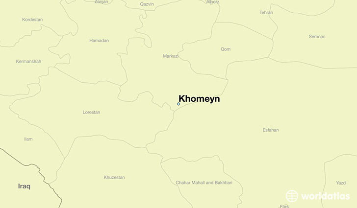 map showing the location of Khomeyn