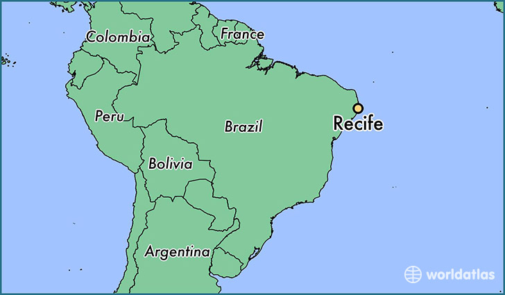 Where is Recife Brazil Recife Pernambuco Map WorldAtlascom