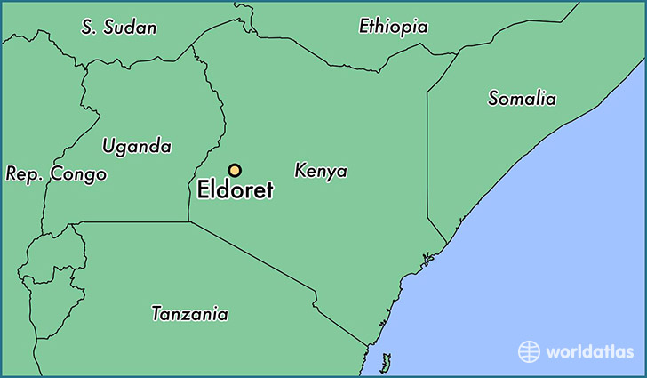 map showing the location of Eldoret