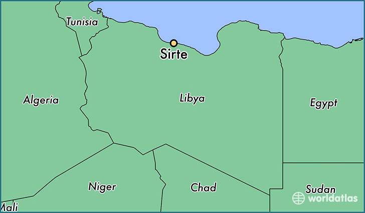 map showing the location of Sirte