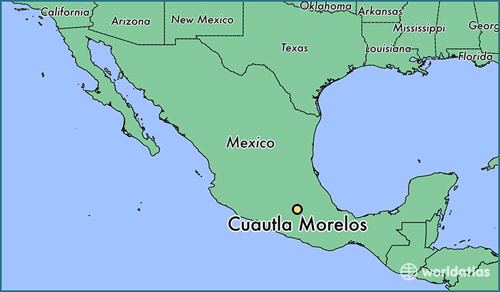 map showing the location of Cuautla Morelos