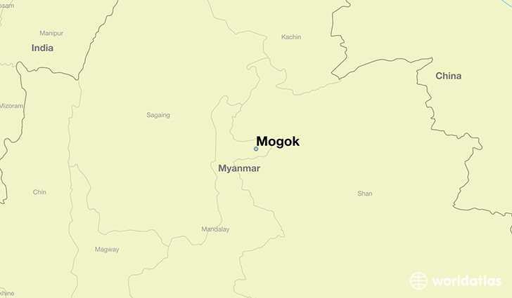 map showing the location of Mogok