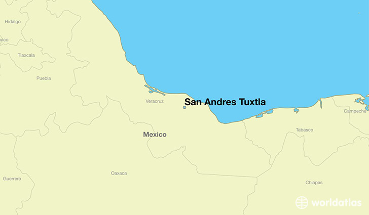 map showing the location of San Andres Tuxtla