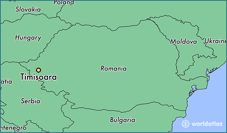 map showing the location of Timisoara