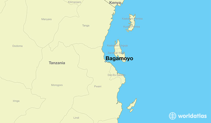 map showing the location of Bagamoyo