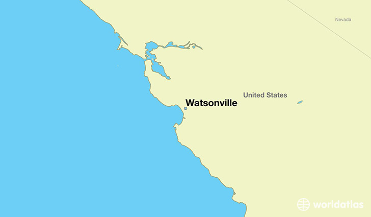 map showing the location of Watsonville
