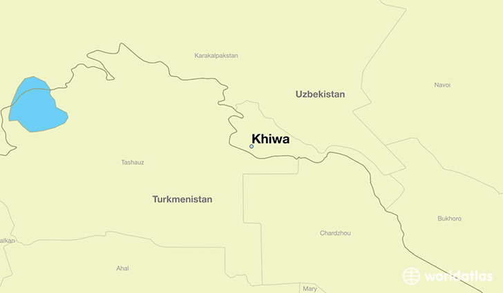 map showing the location of Khiwa