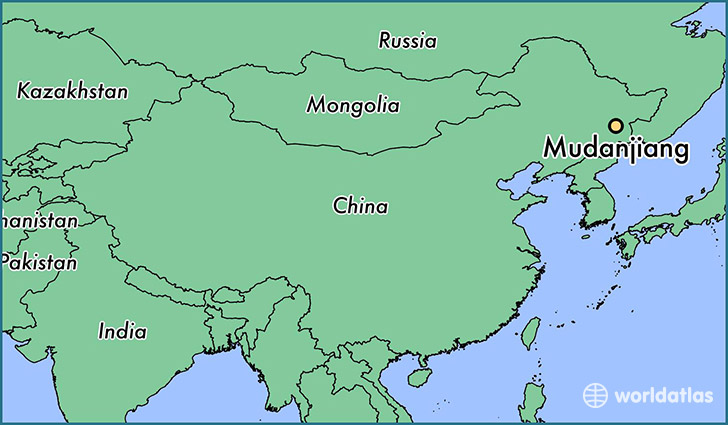 map showing the location of Mudanjiang
