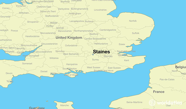 map showing the location of Staines