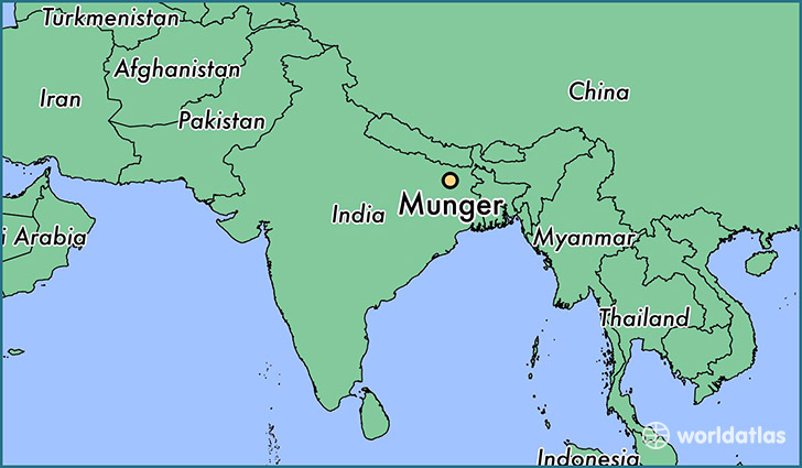 map showing the location of Munger