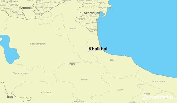 map showing the location of Khalkhal