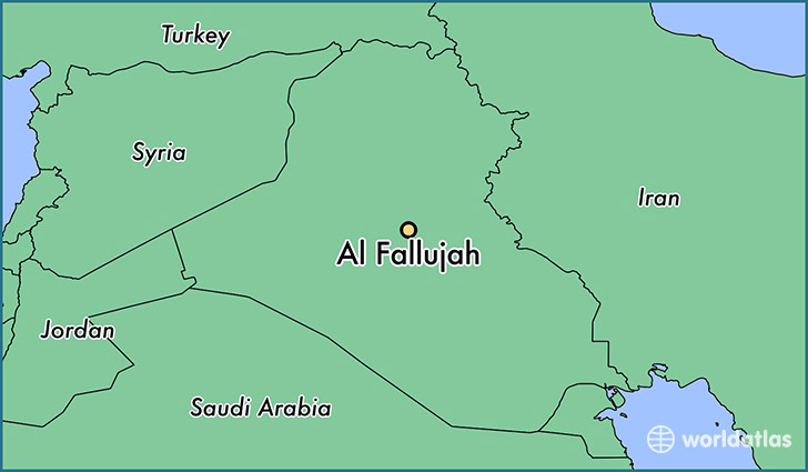 map showing the location of al fallujah