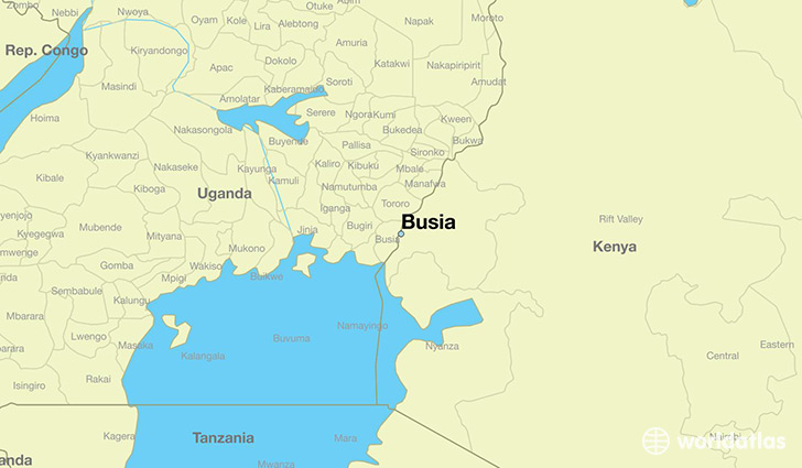 map showing the location of Busia