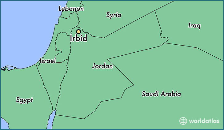 map showing the location of Irbid
