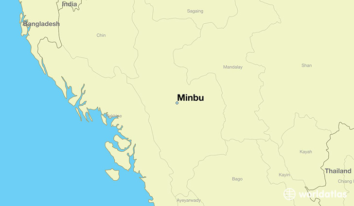 map showing the location of Minbu