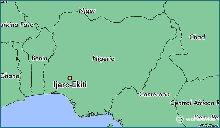 map showing the location of Ijero-Ekiti