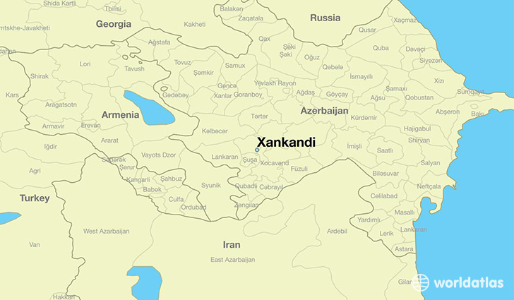 map showing the location of Xankandi