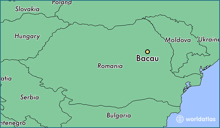 map showing the location of Bacau