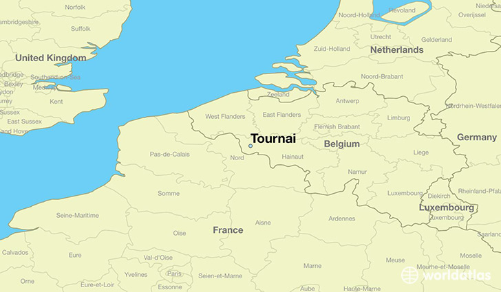 map showing the location of Tournai