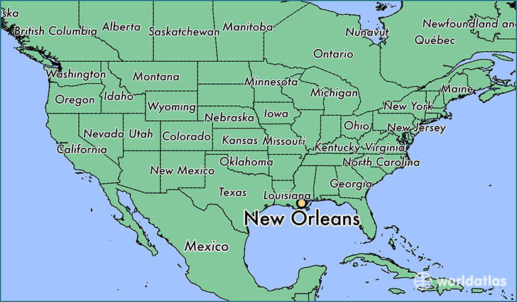 map showing the location of new orleans