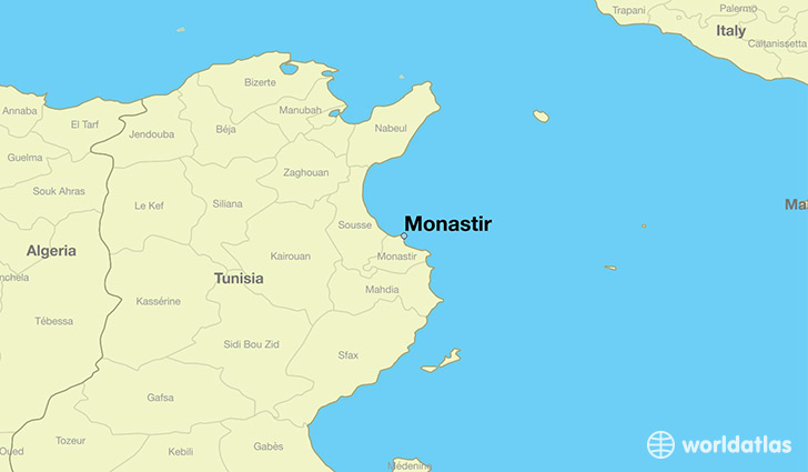 map showing the location of Monastir