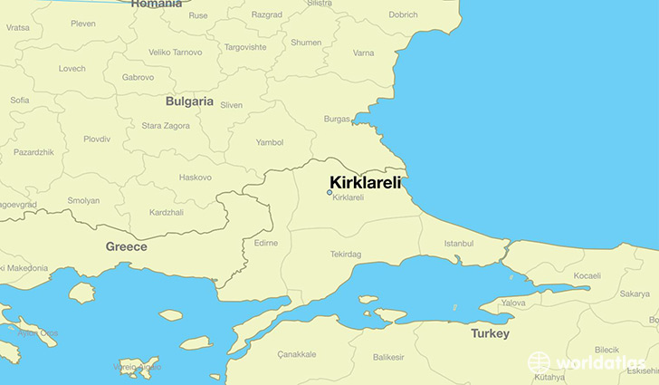 map showing the location of Kirklareli
