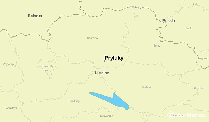 map showing the location of Pryluky