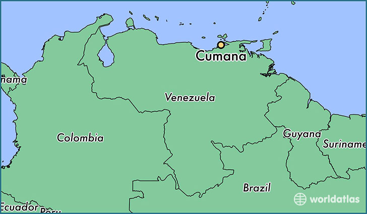 map showing the location of Cumana