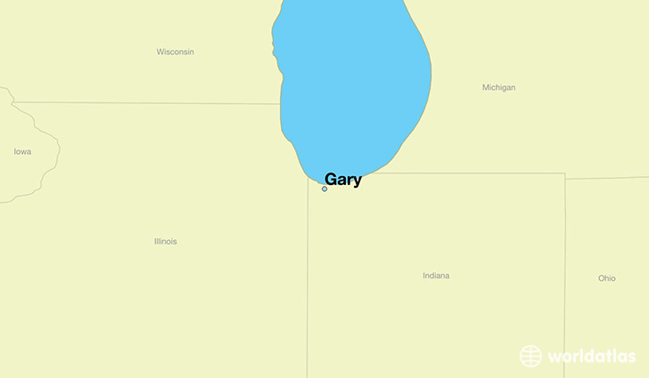 map showing the location of Gary