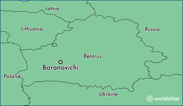 map showing the location of Baranovichi