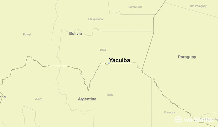 map showing the location of Yacuiba