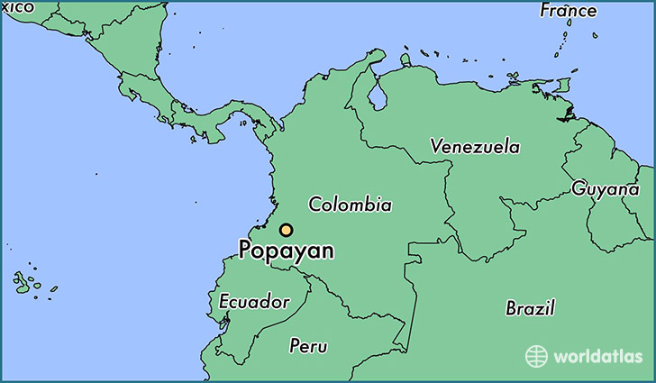 map showing the location of Popayan