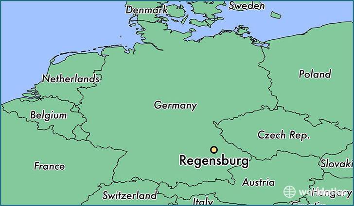 map showing the location of Regensburg