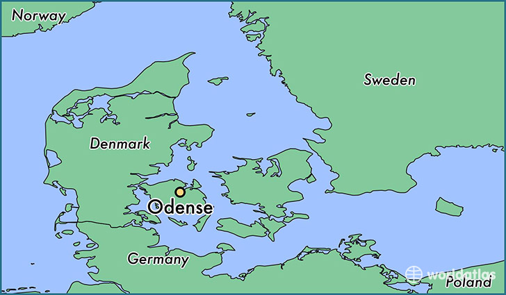 map showing the location of Odense