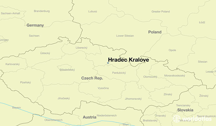 map showing the location of Hradec Kralove