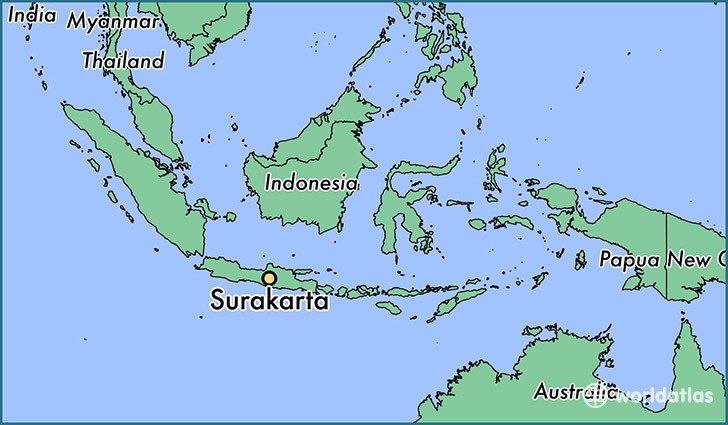 map showing the location of Surakarta