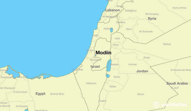 map showing the location of Modiin