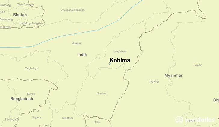 map showing the location of Kohima