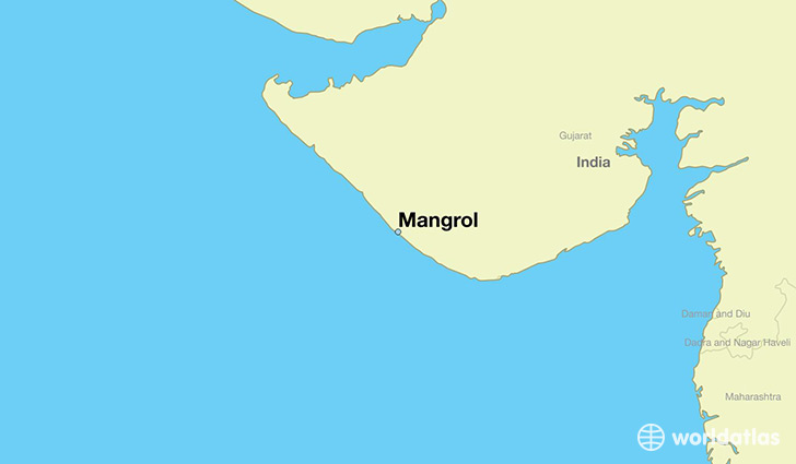 map showing the location of Mangrol