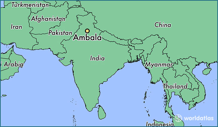 map showing the location of Ambala