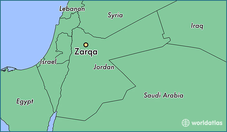 map showing the location of Zarqa