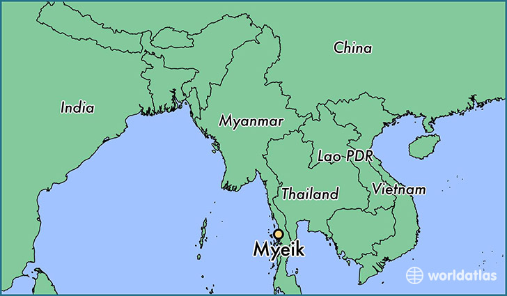 map showing the location of Myeik