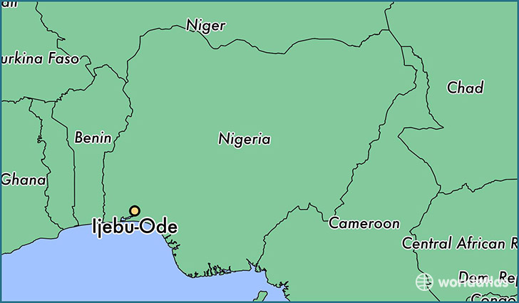 map showing the location of Ijebu-Ode