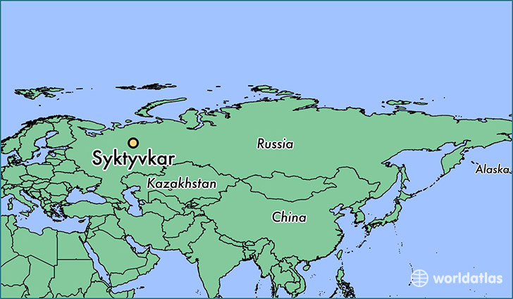 map showing the location of Syktyvkar