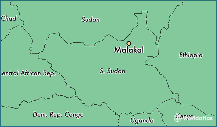 map showing the location of Malakal