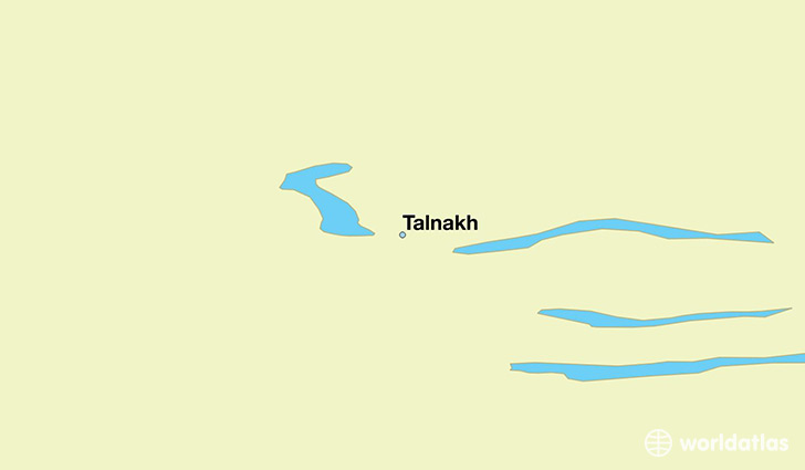 map showing the location of Talnakh