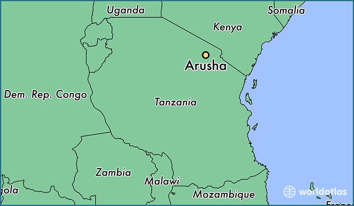 map showing the location of Arusha