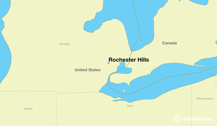 map showing the location of Rochester Hills