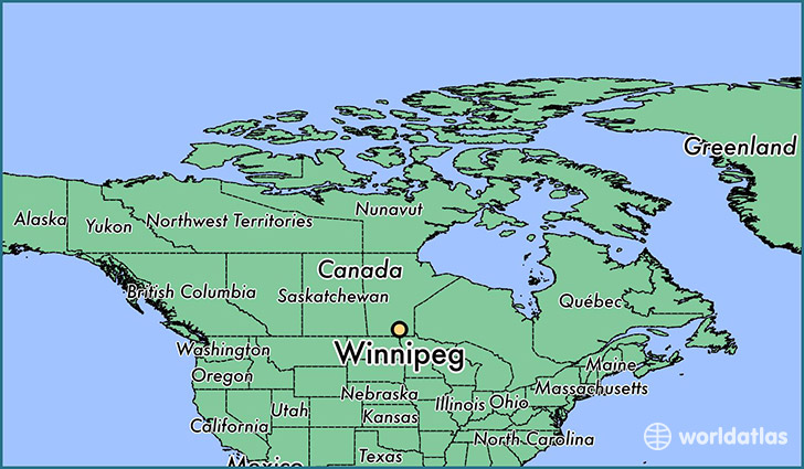 map showing the location of Winnipeg