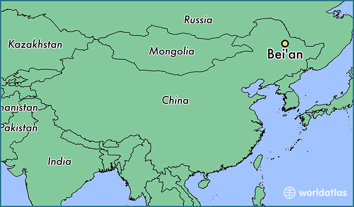 map showing the location of Bei'an